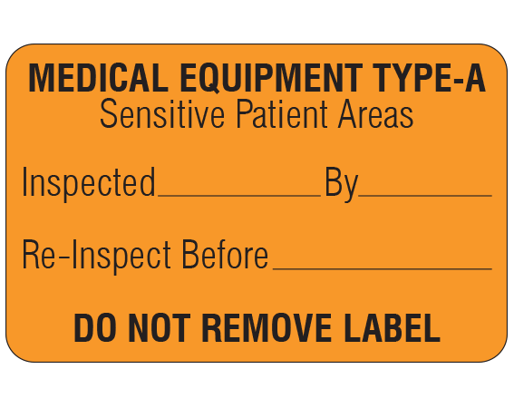 """Orange 1-1/8 """" x 1-3/4"""" Biomedical Engineering Equipment Labels  - With Imprint: MEDICAL EQUIPMENT TYPE-A / Sensitive Patient Areas / Inspected _____ By _____ / Re-Inspect Before _____ / DO NOT REMOVE LABEL"""