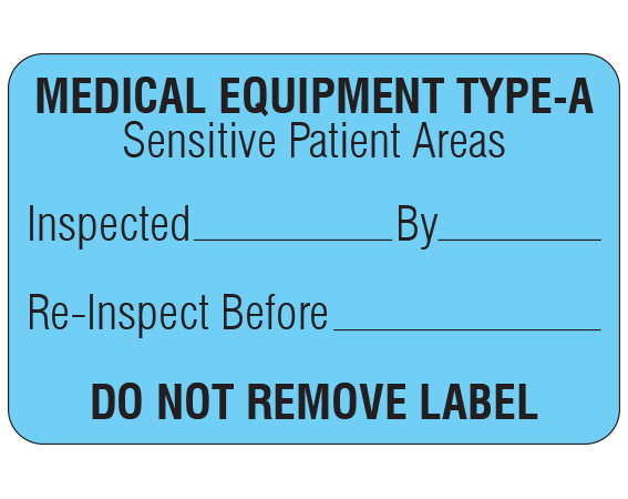 """Blue 1-1/8 """" x 1-3/4"""" Biomedical Engineering Equipment Labels  - With Imprint: MEDICAL EQUIPMENT TYPE-A / Sensitive Patient Areas / Inspected _____ By _____ / Re-Inspect Before _____ / DO NOT REMOVE LABEL"""
