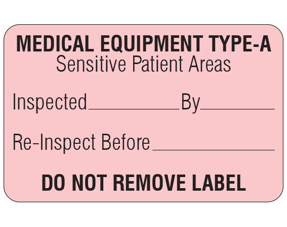 """Pink 1-1/8 """" x 1-3/4"""" Biomedical Engineering Equipment Labels  - With Imprint: MEDICAL EQUIPMENT TYPE-A / Sensitive Patient Areas / Inspected _____ By _____ / Re-Inspect Before _____ / DO NOT REMOVE LABEL"""