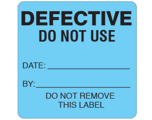 """Blue 2-1/2 """" x 2-1/2"""" Biomedical Engineering Equipment Labels  - With Imprint: DEFECTIVE / DO NOT USE / DATE: _____ / BY: _____ / DO NOT REMOVE / THIS LABEL"""