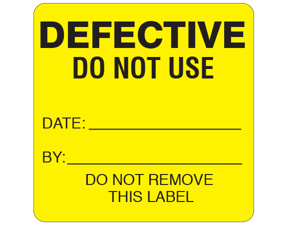 """Yellow 2-1/2 """" x 2-1/2"""" Biomedical Engineering Equipment Labels  - With Imprint: DEFECTIVE / DO NOT USE / DATE: _____ / BY: _____ / DO NOT REMOVE / THIS LABEL"""