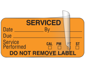 Printed Equipment Labels with Hinged Overlay