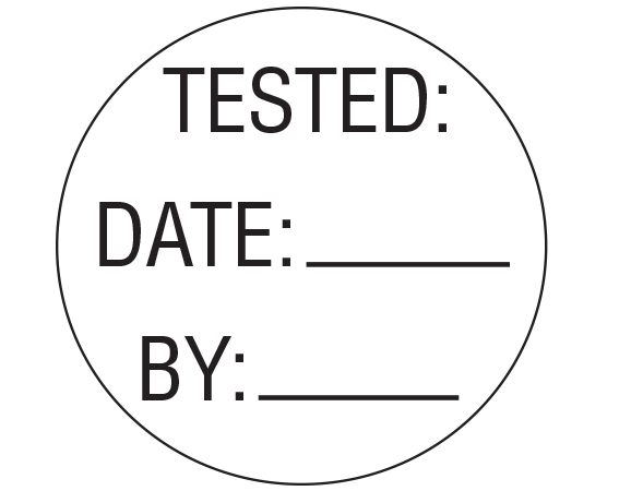 """White 1"""" DIAMETER Biomedical Engineering Equipment Labels  - With Imprint: TESTED: / DATE: _____ / BY: _____"""