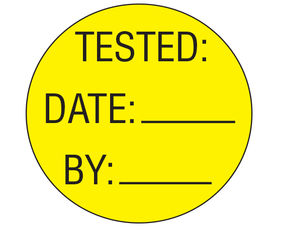 """Yellow 1"""" DIAMETER CIRCLE Biomedical Engineering Equipment Labels  - With Imprint: TESTED: / DATE: _____ / BY: _____"""
