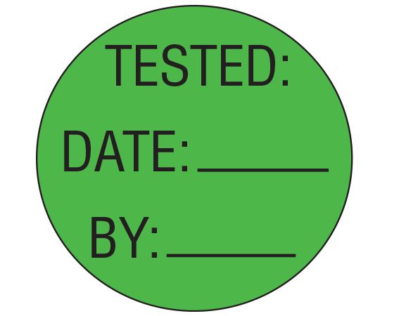 """Green 1"""" DIAMETER Biomedical Engineering Equipment Labels  - With Imprint: TESTED: / DATE: _____ / BY: _____"""