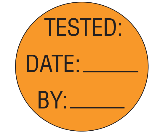 """Orange 1"""" DIAMETER Biomedical Engineering Equipment Labels  - With Imprint: TESTED: / DATE: _____ / BY: _____"""