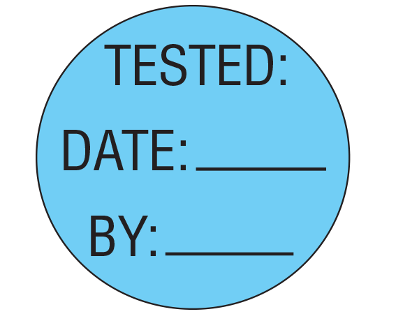 """Blue 1"""" DIAMETER Biomedical Engineering Equipment Labels  - With Imprint: TESTED: / DATE: _____ / BY: _____"""