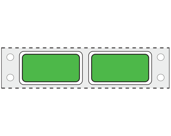 """Green 3/4"""" x 1-1/2"""" Pinfed Printer Labels for Patient Charge Systems - Piggyback"""