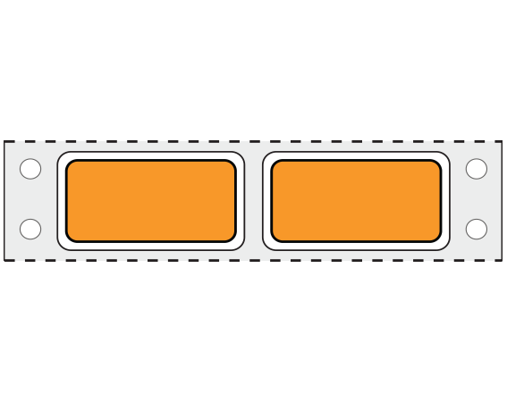 """Orange 3/4"""" x 1-1/2"""" Pinfed Printer Labels for Patient Charge Systems - Piggyback"""