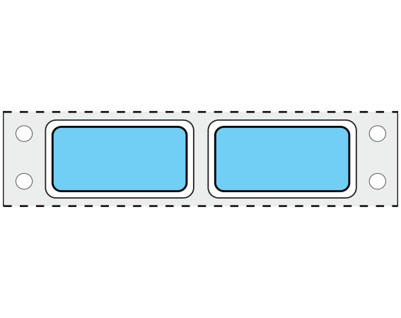 """Blue 3/4"""" x 1-1/2"""" Pinfed Printer Labels for Patient Charge Systems - Piggyback"""