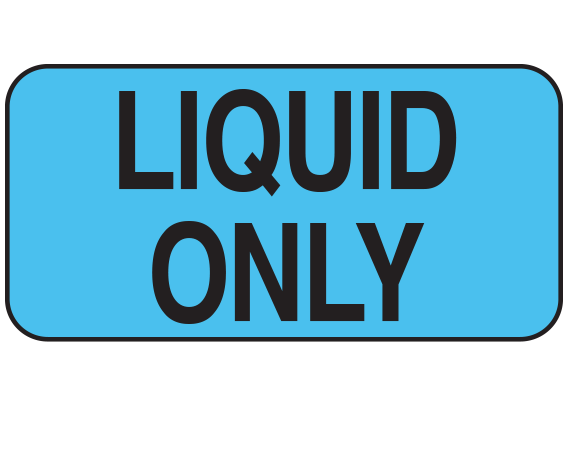 """Blue 3/4"""" x 1-1/2"""" Nursing Labels for Instruction and Communication  - With Imprint: LIQUID ONLY"""