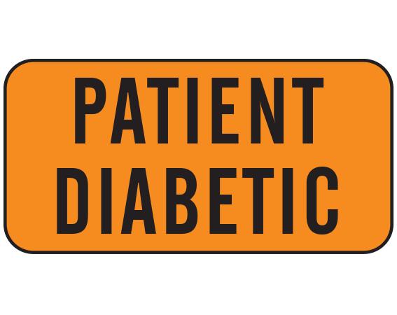 "Orange 3/4"" x 1-1/2"" Nursing Labels for Instruction and Communication  - With Imprint: PATIENT DIABETIC"