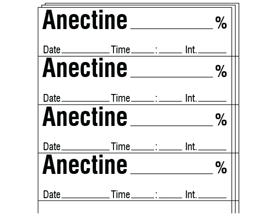"""White 1/2"""" x 2"""" Anesthesia Drug Labels for Syringe Identification - Pack Form  - With Imprint: ANECTINE _____ % / Date _____ Time _____ Int. _____"""