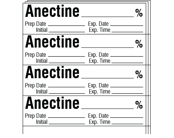 """White 1/2"""" x 2"""" Anesthesia Drug Labels for Syringe Identification - Pack Form  - With Imprint: ANECTINE _____ % / Prep Date _____ Exp. Date _____ / Initial _____ Exp. Time _____"""