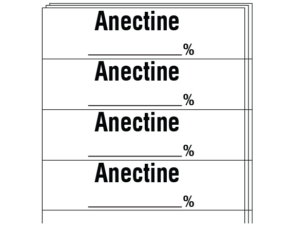 """White 1/2"""" x 2"""" Anesthesia Drug Labels for Syringe Identification - Pack Form  - With Imprint: ANECTINE _____%"""