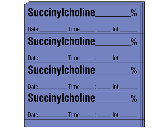 """Lavender 1/2"""" x 2"""" Anesthesia Drug Labels for Syringe Identification - Pack Form  - With Imprint: SUCCINYLCHOLINE _____ % / Date _____ Time _____ Int. _____"""
