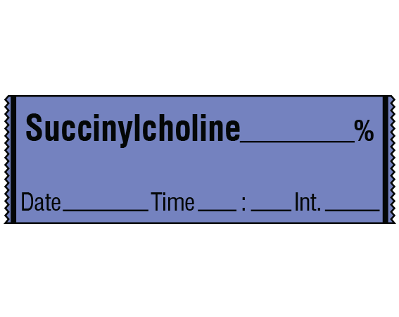 """Lavender 1/2"""" x 500"""" Anesthesia Drug Labels for Syringe Identification - Tape Form  - With Imprint: SUCCINYLCHOLINE _____ % / Date _____ Time _____ Int. _____"""