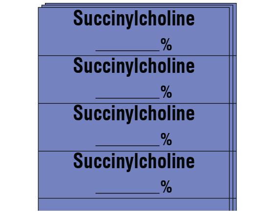 "Lavender 1/2"" x 2"" Anesthesia Drug Labels for Syringe Identification - Pack Form  - With Imprint: SUCCINYLCHOLINE _____%"