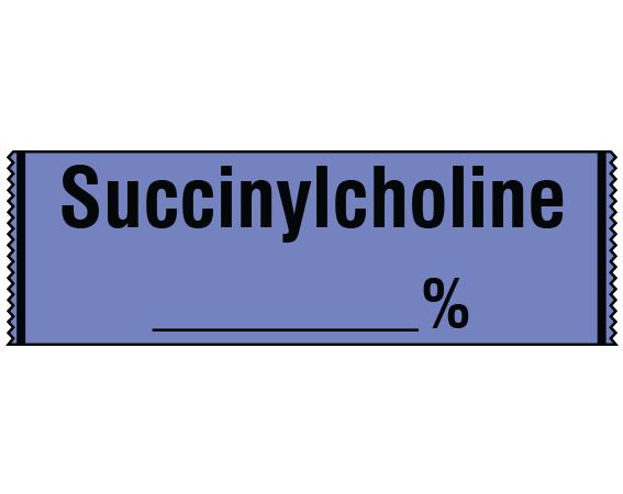 "Lavender 1/2"" x 500"" Anesthesia Drug Labels for Syringe Identification - Tape Form  - With Imprint: SUCCINYLCHOLINE _____%"