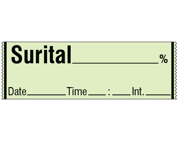 """Lime 1/2"""" x 500"""" Anesthesia Drug Labels for Syringe Identification - Tape Form  - With Imprint: SURITAL _____ % / Date _____ Time _____ Int. _____"""