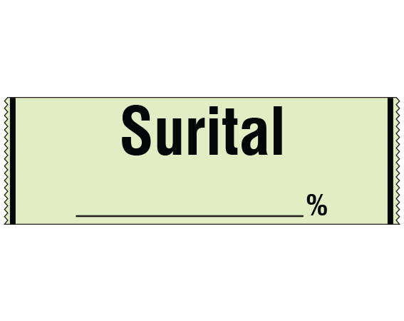 """Lime 1/2"""" x 500"""" Anesthesia Drug Labels for Syringe Identification - Tape Form  - With Imprint: SURITAL _____%"""