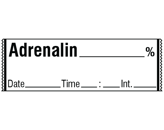 """White 1/2"""" x 500"""" Anesthesia Drug Labels for Syringe Identification - Tape Form  - With Imprint: ADRENALIN _____ % / Date_____ Time _____ Int._____"""