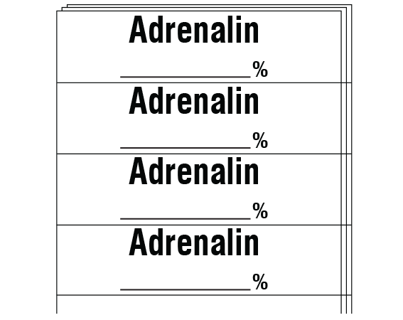 """White 1/2"""" x 2"""" Anesthesia Drug Labels for Syringe Identification - Pack Form  - With Imprint: ADRENALIN _____ %"""