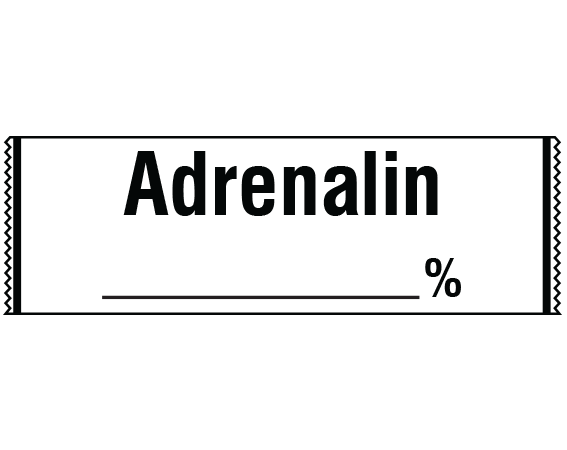 """White 1/2"""" x 500"""" Anesthesia Drug Labels for Syringe Identification - Tape Form  - With Imprint: ADRENALIN _____ %"""