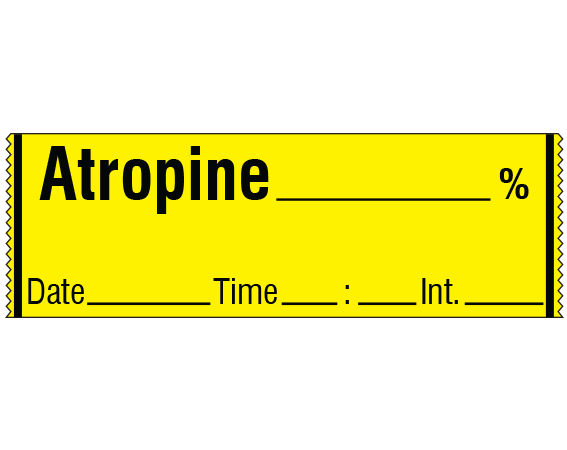 """Yellow 1/2"""" x 500"""" Anesthesia Drug Labels for Syringe Identification - Tape Form  - With Imprint: ATROPINE _____ % / Date _____ Time _____ Int. _____"""