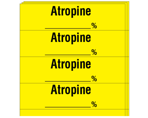 """Yellow 1/2"""" x 2"""" Anesthesia Drug Labels for Syringe Identification - Pack Form  - With Imprint: ATROPINE _____ %"""