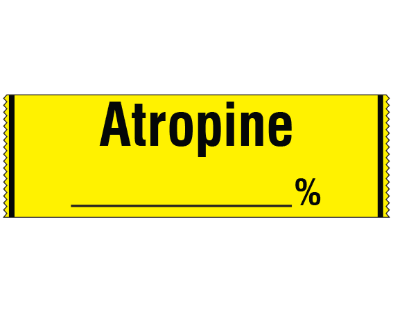 """Yellow 1/2"""" x 500"""" Anesthesia Drug Labels for Syringe Identification - Tape Form  - With Imprint: ATROPINE _____ %"""