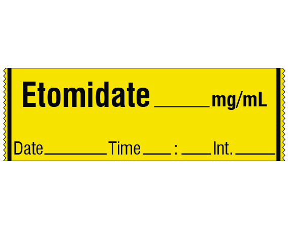 """Yellow 1/2"""" x 500"""" Anesthesia Drug Labels for Syringe Identification - Tape Form  - With Imprint: ETOMIDATE _____ mg / mL / Date _____ Time _____ Int. _____"""