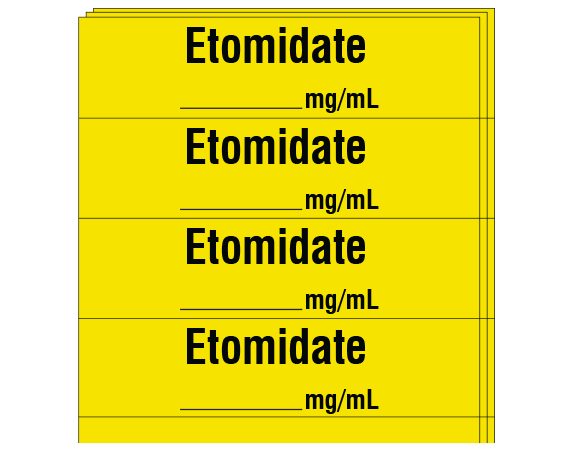 """Yellow 1/2"""" x 2"""" Anesthesia Drug Labels for Syringe Identification - Pack Form  - With Imprint: ETOMIDATE _____ mg /mL"""