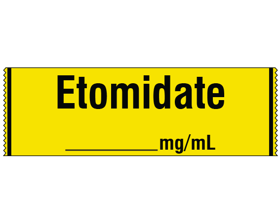 """Yellow 1/2"""" x 500"""" Anesthesia Drug Labels for Syringe Identification - Tape Form  - With Imprint: ETOMIDATE _____ mg /mL"""
