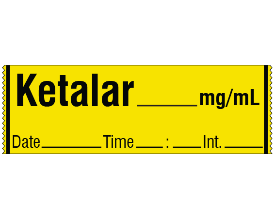 """Yellow 1/2"""" x 500"""" Anesthesia Drug Labels for Syringe Identification - Tape Form  - With Imprint: KETALAR _____ mg / mL / Date _____ Time _____ Int. _____"""