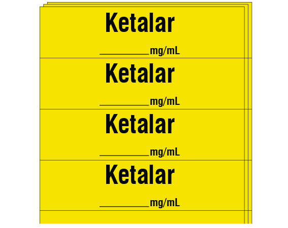 """Yellow 1/2"""" x 2"""" Anesthesia Drug Labels for Syringe Identification - Pack Form  - With Imprint: KETALAR / _____ mg / mL"""