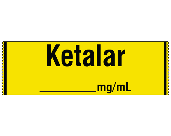 """Yellow 1/2"""" x 500"""" Anesthesia Drug Labels for Syringe Identification - Tape Form  - With Imprint: KETALAR / _____ mg / mL"""