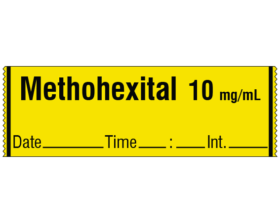 """Yellow 1/2"""" x 500"""" Anesthesia Drug Labels for Syringe Identification - Tape Form  - With Imprint: METHOHEXITAL 10 mg / mL / Date _____ Time _____ Int. _____"""