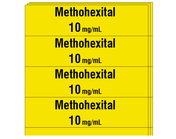 """Yellow 1/2"""" x 2"""" Anesthesia Drug Labels for Syringe Identification - Pack Form  - With Imprint: METHOHEXITAL 10 mg / mL"""