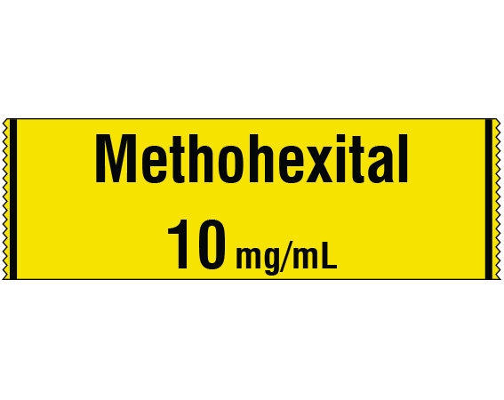 """Yellow 1/2"""" x 500"""" Anesthesia Drug Labels for Syringe Identification - Tape Form  - With Imprint: METHOHEXITAL 10 mg / mL"""