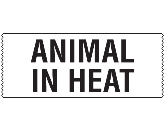 """White 1"""" x 500"""" Animal Care Labels for Veterinary Medicine  - With Imprint: ANIMAL / IN HEAT"""