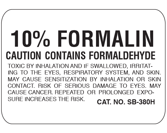 """White 1-3/4"""" x 2-1/2"""" Caution Labels for Pathology Specimen Storage  - With Imprint: 10% FORMALIN / CAUTION CONTAINS FORMALDEHYDE / TOXIC BY INHALATION AND IF SWALLOWED"""