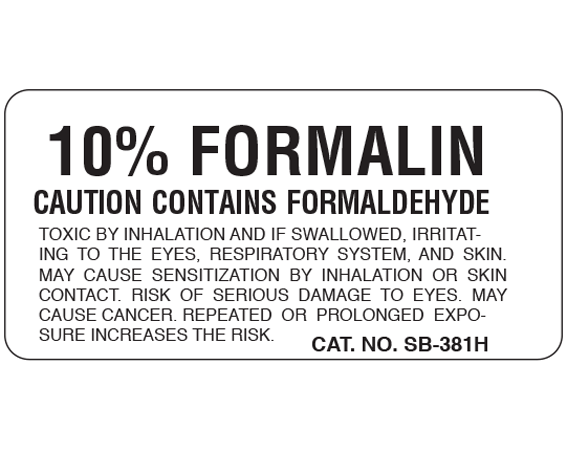 """White 1 """" x 2"""" Caution Labels for Pathology Specimen Storage  - With Imprint: 10% FORMALIN / CAUTION CONTAINS FORMALDEHYDE / TOXIC BY INHALATION AND IF SWALLOWED"""