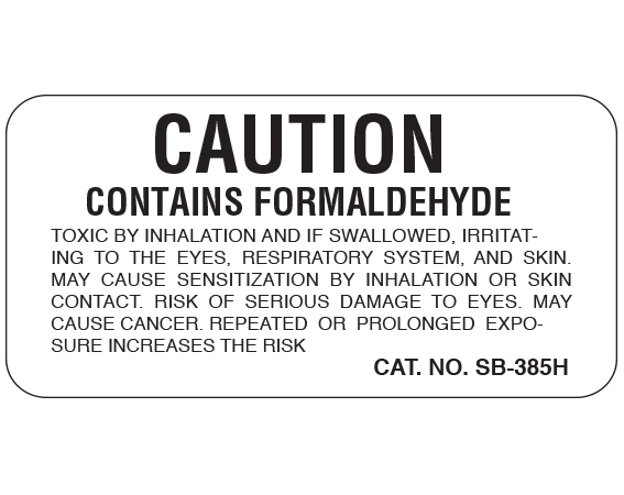 """White 1 """" x 2"""" Caution Labels for Pathology Specimen Storage  - With Imprint: CAUTION / CONTAINS FORMALDEHYDE/ TOXIC BY INHALATION AND IF SWALLOWED"""