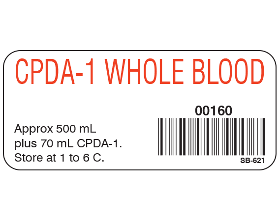 """White 1"""" x 2-1/4"""" Blood Product Labels with Codabar Symbology  - With Imprint: CPDA-1 WHOLE BLOOD / 00160 / Approx 500 mL / plus 70 mL CPDA-1. / Store at 1 to 6 C."""