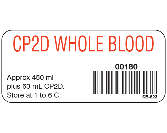 """White 1"""" x 2-1/4"""" Blood Product Labels with Codabar Symbology  - With Imprint: CP2D WHOLE BLOOD / 00180 / Approx 450 mL / plus 63 mL CP2D. / Store at 1 to 6 C."""