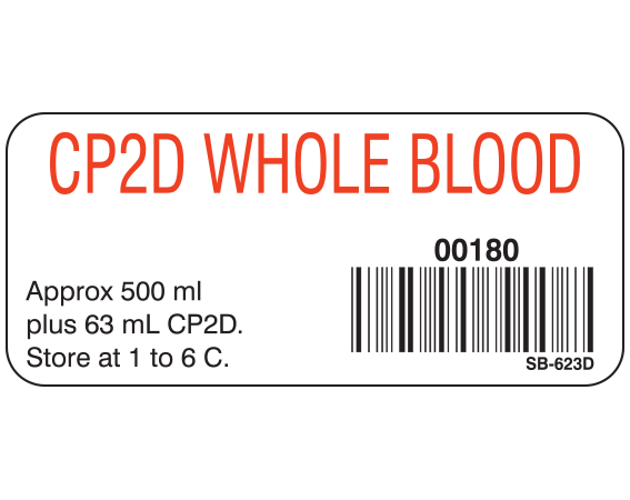 """White 1"""" x 2-1/4"""" Blood Product Labels with Codabar Symbology  - With Imprint: CP2D WHOLE BLOOD / 00180 / Approx 500 mL / plus 63 mL CP2D. / Store at 1 to 6 C."""