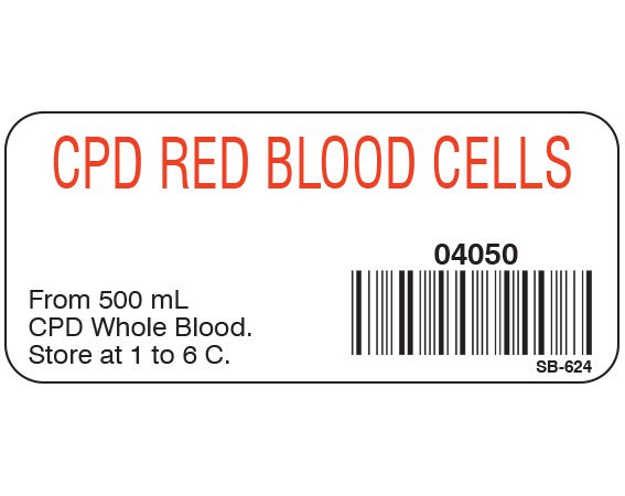 """White 1"""" x 2-1/4"""" Blood Product Labels with Codabar Symbology  - With Imprint: CPD RED BLOOD CELLS / 04050 / From 500 mL / CPD Whole Blood. / Store at 1 to 6 C."""