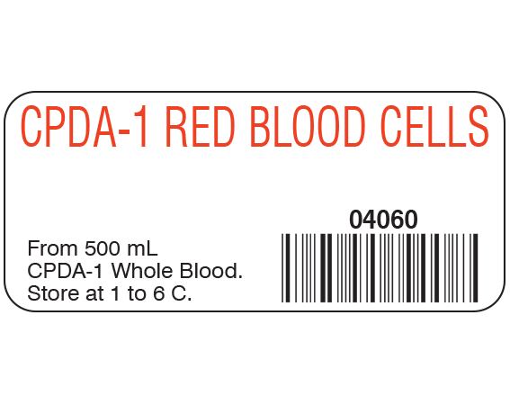 """White 1"""" x 2-1/4"""" Blood Product Labels with Codabar Symbology  - With Imprint: CPDA-1 RED BLOOD CELLS / 04060 / From 500 mL / CPDA-1 Whole Blood. / Store at 1 to 6 C."""