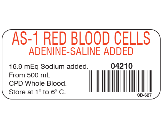"""White 1"""" x 2-1/4"""" Blood Product Labels with Codabar Symbology  - With Imprint: AS-1 RED BLOOD CELLS / ADENINE-SALINE ADDED / 04210 / 16.9 mEq Sodium added. / From 500 mL / CPD Whole Blood. / Store at 1 to 6 C."""